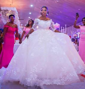 Scoop Neck Tulle Abito da sposa abito da sposa con fiori 2020 mezzi abiti da sposa maniche Abiti da sposa Abiti da sposa