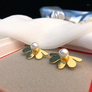 Flowers Earrings Personality Handmade Zircon Pearl Luxury Jewelry 18K gold plated brass Earrings Stud Earrings For women Asymmetric Earring1