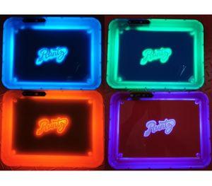 Kağıt Kutu Rolling 420 Packaging DHL LED Işıklar Rolling Tepsi Şarj edilebilir Parlayan Işıklı Herb Tütün Plakası Sarı Mor Runtz