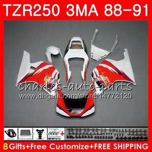 Corpo Para YAMAHA TZR250 3MA TZR 250 RS RR YPVS TZR250RR 118HM.96 TZR-250 88 89 90 91 TZR250 1988 1989 1990 1991 Carenagem kit branco brilhante