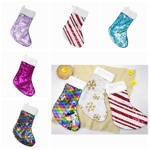 Décoration de Noël réversible Sequin Stocking Pendentif Accrocher Accessoires Candy Bag Cadeaux Sac Party Supplies 5 Couleurs ZZA1121 50PCS