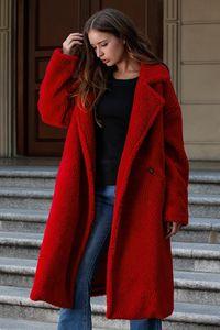 Color sólido para mujer de diseño de lana de moda suelta gruesa solapa cuello para mujer chaqueta de punto prendas de vestir exteriores casual ropa de mujer