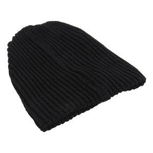 Casual Chic Erkekler Gevşek Beanie Black Hat 2018 Yeni Kış Kadın Erkek Skullies Sıcaklık Örme Beanies Katı Renk büyük boyutlu Caps
