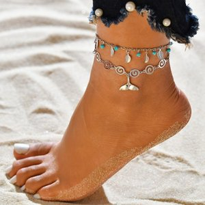 Vintage Silver Color Surf Anklets For Women Bohemian Beads Leaves Anklet Fashion Summer Jewelry