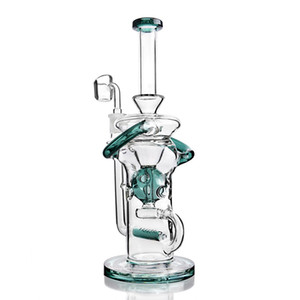 tornado Recycler Bong glass bubbler water pipes oil rig hookah mobius straight tube bong With 14mm banger 11.3 inchs