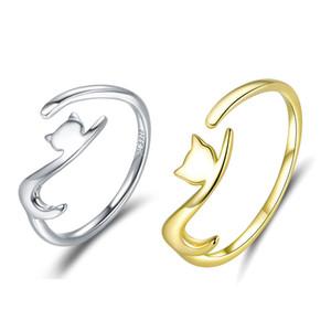 Женщины 925 Sterling Silver Sticky Cat с длинным хвостом палец кольца для женщин Регулируемых ювелирных изделий S925 Серебряного кольца подарка