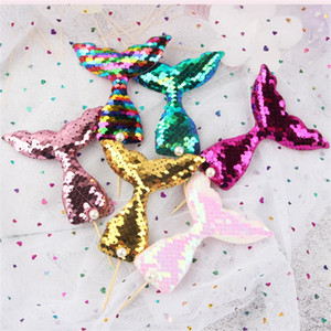 Mermaids Tails Flag Insertion Perle Mermaid Tail Pailletten Cake Toppers Backen Kuchen Dekoration Karteneinfügungen Neue Ankunft 0 85sn L1