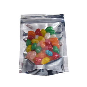 100Pcs / Lot 9 * 14cm Şeffaf Ön Alüminyum Folyo Kilit Kılıfı Kapanabilen Mylar Folyo Plastik Poşet Gıda Fasulye Snacks Paketi Bag Stand Up Zip