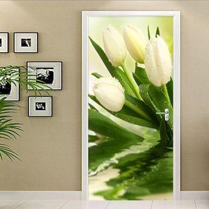 Door Sticker Modern Plant Tulips Flower Wallpaper Living Room Bedroom Home Decor Wall Decals PVC Self-Adhesive 3D Murals Paste