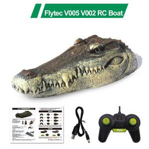 Flytec V005 v002 с открытым бассейном RC лодка 2.4 г моделирования крокодила голова RC пульт дистанционного управления электрический гоночный катере для взрослого бассейна глава пародия игрушка Y200317