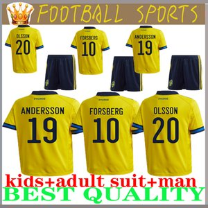 2020 لكرة القدم البلوزات السويد المنزل الصفراء بعيدا الزرقاء JOHANSSON جونسون GUIDETTI فورسبرغ BERG LARSSON كرة القدم مخصصة السويدية