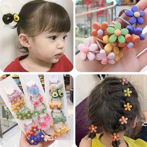 10Pcs Set Cartoon Elastic Hair Bands Baby Girls Scrunchies Kids Hair Accessories Cute Flower Animals Fruit Ponytail Holder