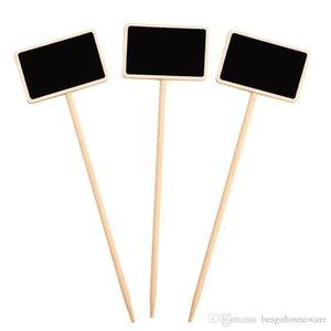 Mini Chalkboard en bois Étiquette Parti Creative Blackboard Memo Balises Plantes Fleurs de mariage Étiquette de prix Décorations pour jardins message Carte BH2349 ZX