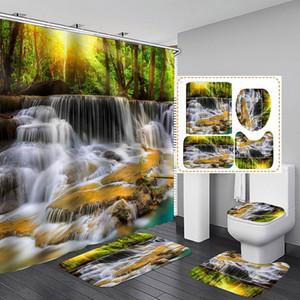 Bosque del baño a prueba de agua pantalla de configuración con ganchos 12pcs paisaje Plato de ducha Baño Cortina de baño decoración del hogar