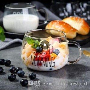 1 pcs Lovely Glass Breakfast Cup Coffee Tea Milk Yogurt Mug Creative Good Morning Mug Gifts,Glass coffee mug travel cup