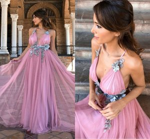 Sexy Deep V Neck Prom Dresses Tulle Backless Cocktail Party Dress Handmade Flowers Beads Backless Evening Gowns vestidos de noche