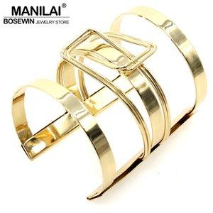 MANILAI Women Dress Jewelry Lock Catch Design Alloy Opened Cuff Bangles Fashion Handwork Accessories BL374