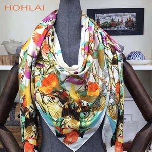 Novo 130 * 130 CM 100% sarja Mulher Silk Scarf Praça Lenços pássaro em homenagem ao Phoenix Silk Scarf Wraps Hijab