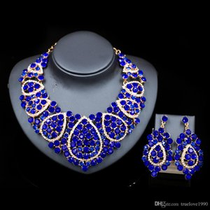 Shinning Blue Champagne Green Crystals Jewelry 2 Pieces Sets Necklace Earrings Bridal Jewelry Bridal Accessories Wedding Jewelry T301431