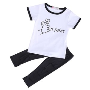 Летняя детская одежда 2018 новый повседневный малыш с короткими рукавами футболка + сломанные брюки наряды девочка хлопчатобумажная одежда комплект