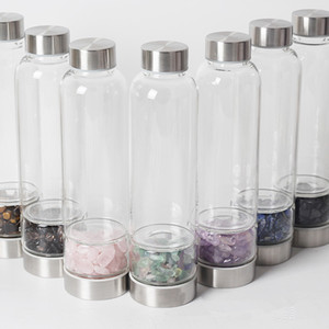 Natural Crystal Quartz Glass Water Bottle Gravel Irregular Stone Cup Outdoor Energy Bottles Spa Cups Layered Tumblers GGA2931