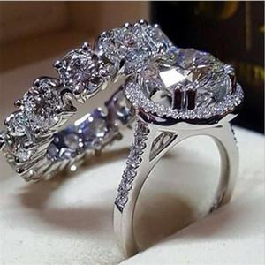 Anéis casal de jóias de luxo 925 Sterling Silver Redonda Cut branco Topaz CZ pedras preciosas Partido Diamante Mulheres Anel de casamento nupcial Para Presente Lovers'