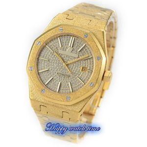 N9 Top versão 15452OR.ZZ.1258OR.02 Dial Diamond Rose caixa de aço Ouro 3120 Plywood Mecânica Movimento Mens Watch Aço Strap Luxry Relógios