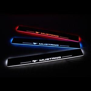 Acryl-Moving-LED Willkommen Pedal-Auto-Verschleiss-Platte Pedal Einstieg Pathway-Licht für Ford Mustang 2015 2016 2017 2018 2019