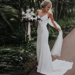 2020 بسيط الخامس الرقبة شاطئ فساتين الزفاف أكمام الساتان بوهو أثواب الزفاف مصلى قطار الأبيض العاج السباغيتي الأشرطة فساتين الزفاف