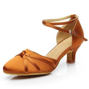 Rojo / marrón Tango Dancing Shoes mujeres de las muchachas de baile latino zapatos de la zapatilla de deporte zapatos de las señoras de la danza de baile latino mujer talón 5cm / 7cm A112