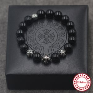 S925 Ossidiana argento uomini bracciali Strand personalità serie di moda classica croce lettera modellismo perline regalo dell'amante