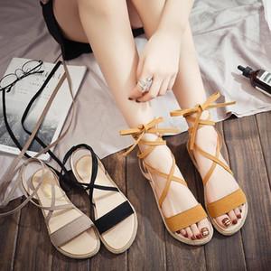 Current2019 Schoolgirl Sandals Xia Pingdi Bandage Women's Toe Chalaza Rome Shoes Tide
