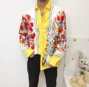 Fashion Slim Fit Shirts Men Medusa Shirts Black Gold Floral Print Mens Dress Shirts Long Sleeved Business Casual Shirt Men