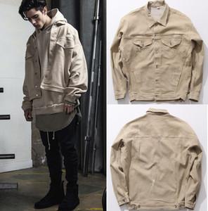High Street Moda Mens Denim Jacket Men Vintange Sólidos Roupa Cor Casacos Casacos Casacos de outono inverno