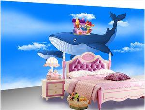 WDBH foto personalizada papel de parede 3d Fantasia dos desenhos animados voando baleia casa de cuidados do quarto das crianças decoração de casa 3d murais de parede papel de parede para paredes 3 d