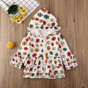 Çocuklar Kız Bebek Coat Maple Leaf Baskı Fermuar Kapüşonlular Ceket Dış Giyim Elbise Kız Çiçek Üst Coats Giyim