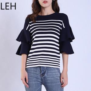 LEH 2019 새로운 여성 패션 프릴 소매 스웨터 스웨터 가을 느슨한 간단한 점퍼 솔리드 우아한 Hgih 품질 스웨터
