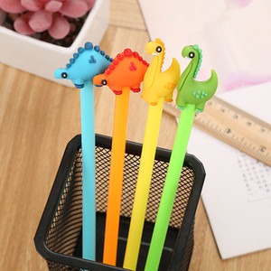 Cartoon Creative Dinosaur Gel Pen Kawaii Promotional Gift Silicone Stationery Pen Student School Office Supply Free Shipping