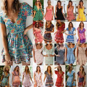 US 2020 Fashion Women Boho Floral Dress Party Evening Summer Beach Holiday Sundress