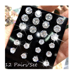 12 Pair Pack Shiny Wedding Stud Earrings Set for Women Men Crystal Jewelry Accessories Earing Oorbellen Fashion