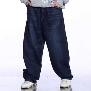 Fashion Hip Hop Jeans Men Casual Loose Baggy Harem Jeans Straight Denim Pants Wide Leg Blue Trousers Man Clothes Plus Size Pants
