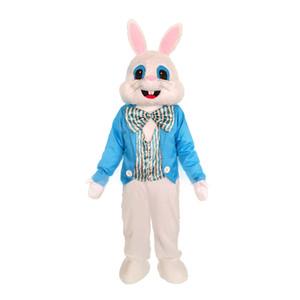 Anniversaire de luxe de lapin de Pâques Bleu Gilet costume de mascotte de lapin Costume