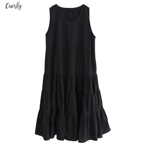 Plus Size M 7Xl Summer New Fashion Sleeveless Tank Dress Cotton Linen Solid Casual O Neck Long A Line Ruffles Streetwear