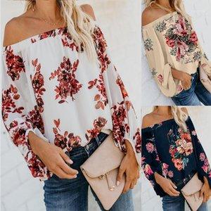 Summer Womens Designer Floral Printed Shirts Sexy Lantern Sleeve Slash Neck Summer Vacation Tees Womens Tshirt