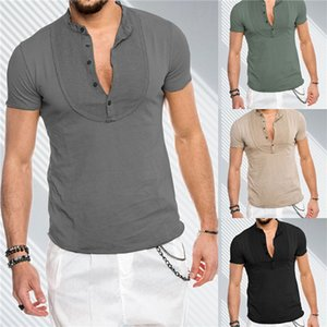 Mens 2020 Luxury Designer Tshirt Summer Solid Color Stand Collar Pullover Tees Tops Short Sleeve Male Clothing