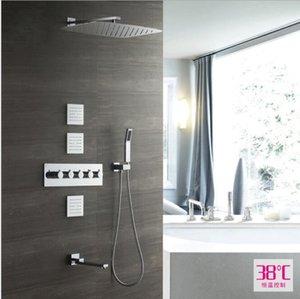 Alta Calidad 55x35 CM Rectangular Showerhead Faucet Kit Termostático Oculto Montado En La Pared Cuerpo Jets Conjunto de Ducha Panel de Ducha de Lluvia