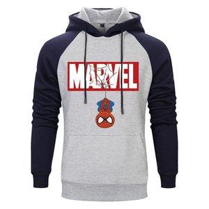 Impressão Carta Spiderman Hoodies Marca Moletons Men Qualidade Halloween Moda moletom bordado Mens tendência veste super-herói