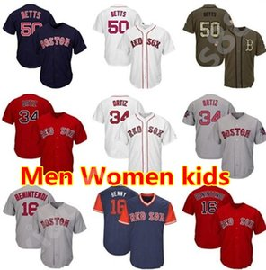 Homens Mulheres Juventude Jersey 34 Ortiz 16 Navy Benintendi Betts Baseball Jersey Branco Cinza Azul Vermelho Salute to Serviços Jogadores Weekend