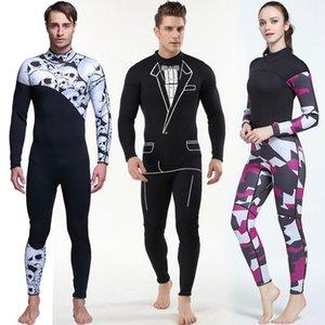 Новый печатный 3 мм неопрен гидрокостюмы высокое качество мужчины женщины с длинным рукавом серфинг подводная охота цельный купальник теплый дайвинг гидрокостюм