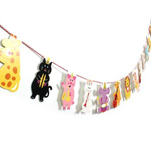 1pc Cartoon Animal Garland Paper Flag Circus Forest Lion Elephant Concert Banner Baby Shower Kids Birthday Party Decor Supplies